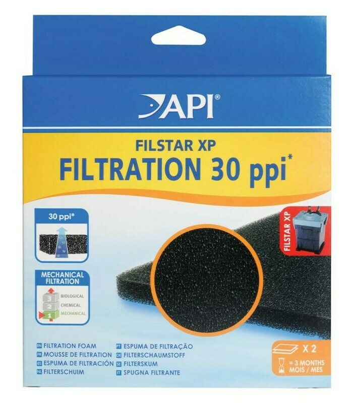 API Filstar Fine Filtration Foam 30 PPI Black 1ea/2 pk