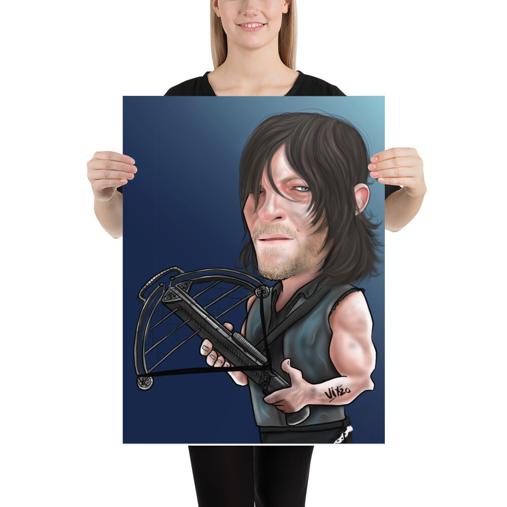 The Walking Dead / Daryl - Norman Reedus Caricature - Premium Quality Poster Print