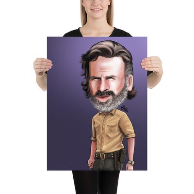The Walking Dead / Rick - Andrew Lincoln Caricature - Premium Quality Poster Print