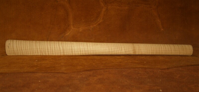 PIPE TOMAHAWK HANDLE;  Drilled for smoking;  Red Curly Maple;  19