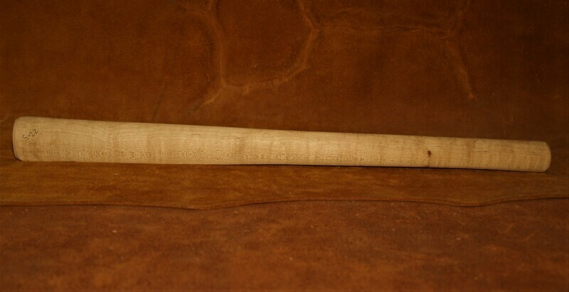 PIPE TOMAHAWK HANDLE;  drilled for smoking;  Sugar Maple;  19