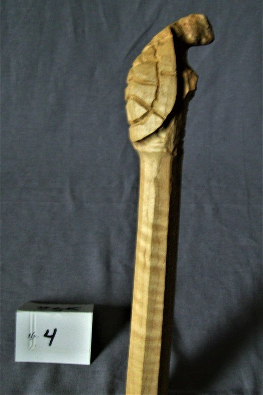 Pre-carved Curly Maple Turtle Walking Stick; 54