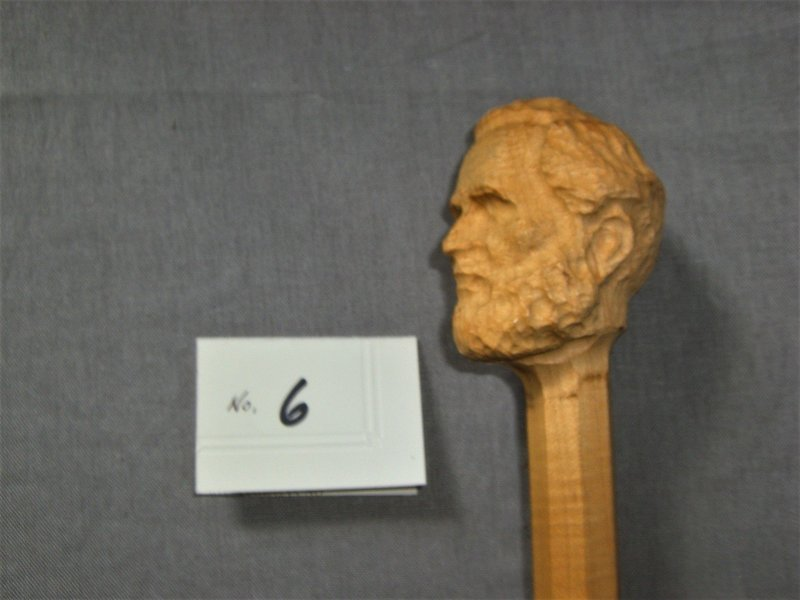 Pre-carved Robert E. Lee Curly Maple Walking Stick; 45