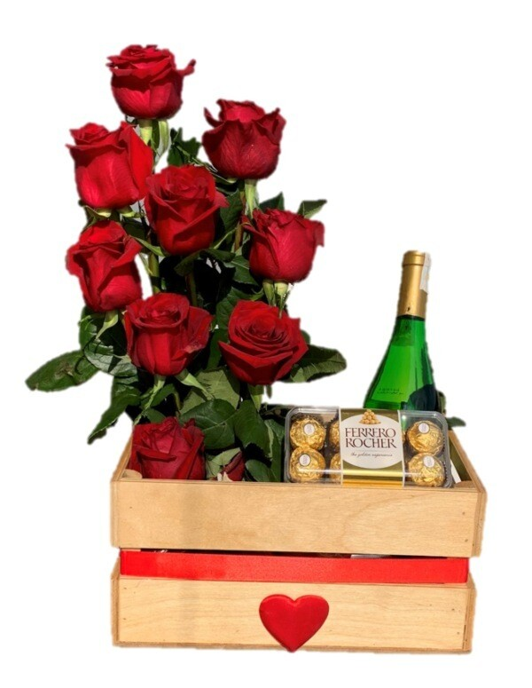 Valentine's day box of roses and wine