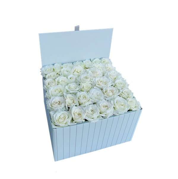 White Roses in a Baby Blue box