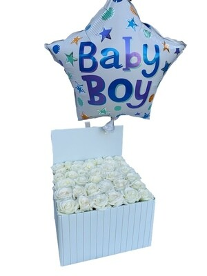 Baby Boy flowers and balloons