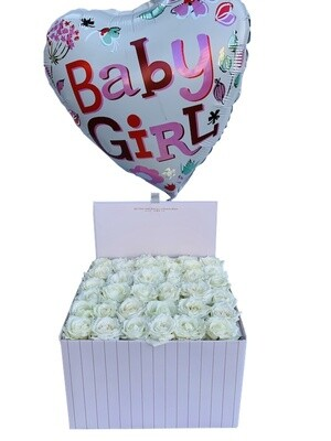Baby Girl Flowers and balloons