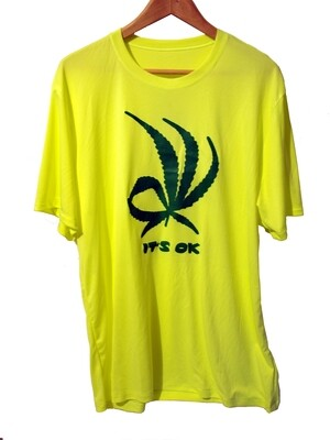 Weed It's Ok Statement Tee - safety green