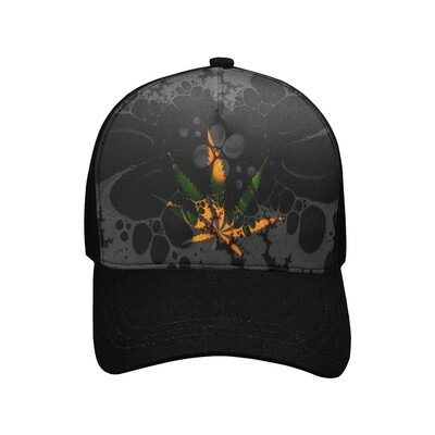 SC Sativa Abstraction Printed Baseball Cap - black on black