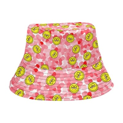 SC Blurred Eyes Emoji Bucket Hat - pink
