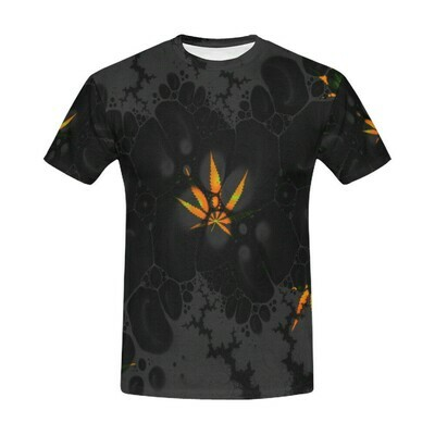 Sativa Abstract cut and sew tee - black
