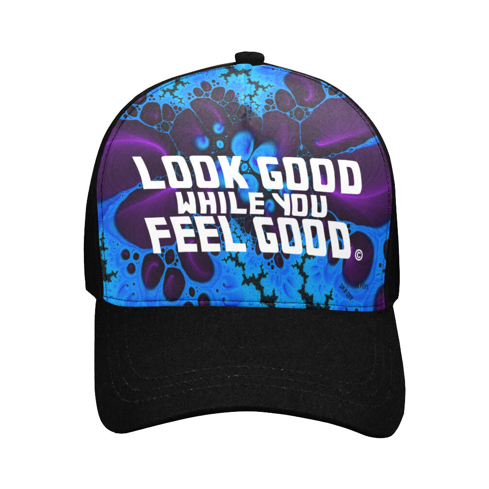 Look Good Feel Good Printed Baseball Cap - blue purple