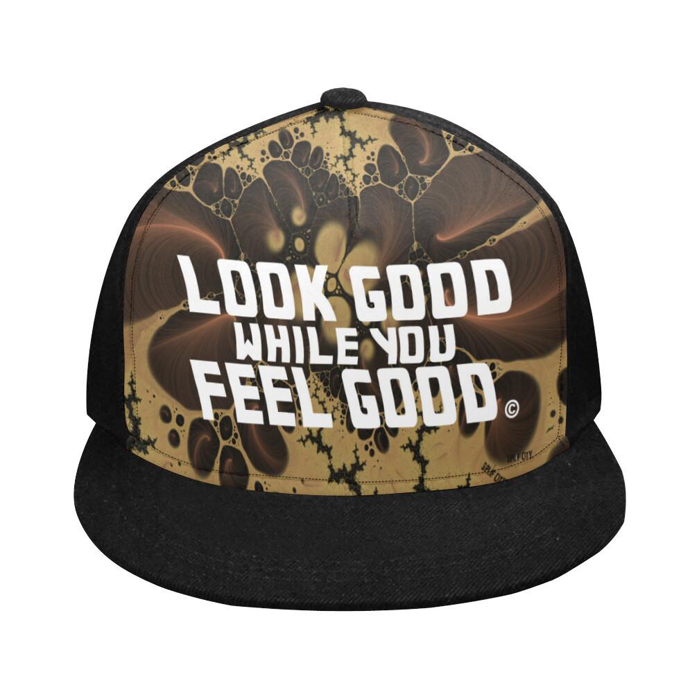 Look Good Feel Good Printed Snapback Cap - earthtone