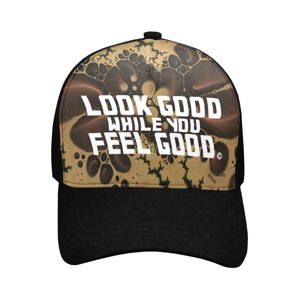 Look Good Feel Good Printed Baseball Cap - earthtone