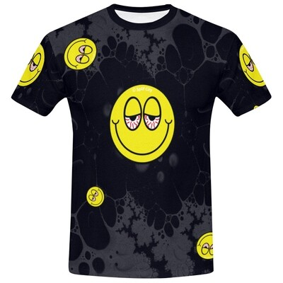 Blurred Eyed Emoji cut and sew tee - black