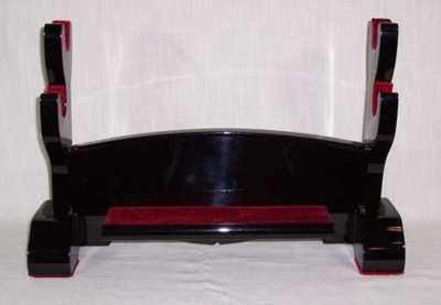 Table-top Black Lacquer Double Sword Display