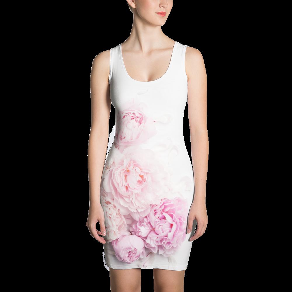 Pink Peony Flower - Bodycon Dress