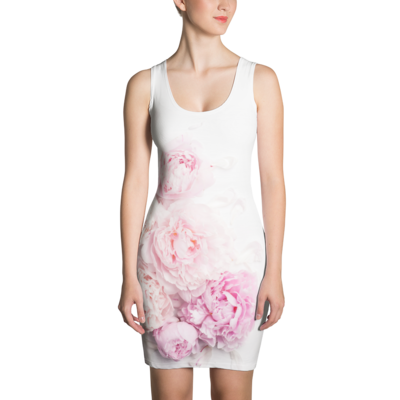 Pink Peony Flower - Bodycon Dress
