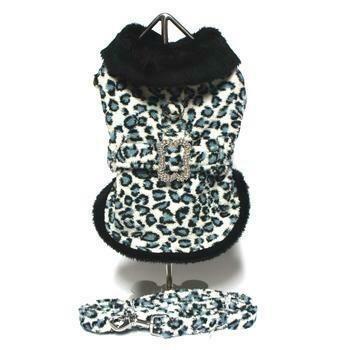 Leopard Faux Fur Pet Coat Harness with Rhinestone Bone Buckle