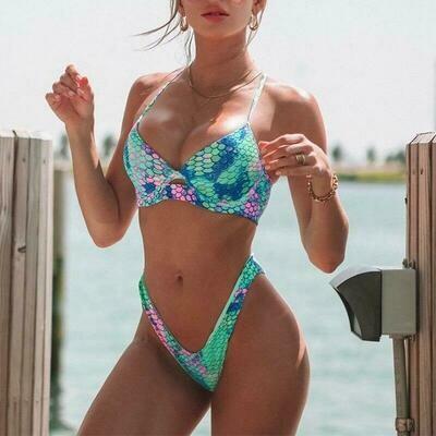 Underwire Push Up Swimsuit Tie Dye Bikini