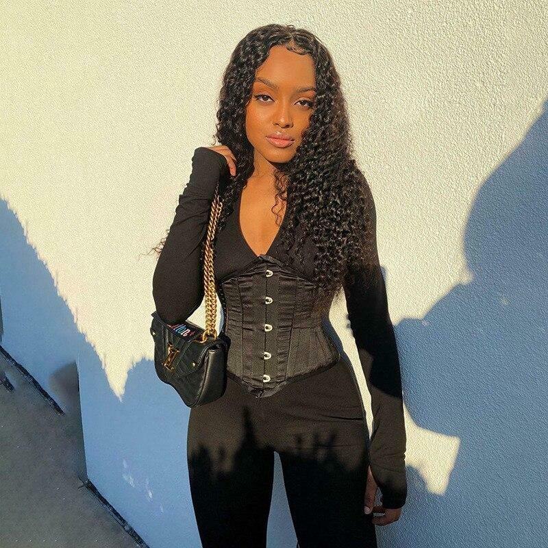 long sleeve jumpsuit corset set