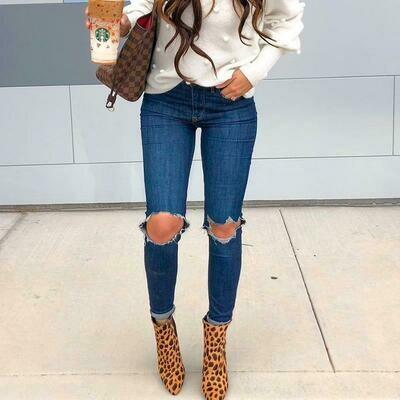 Frayed Women Denim Jeans