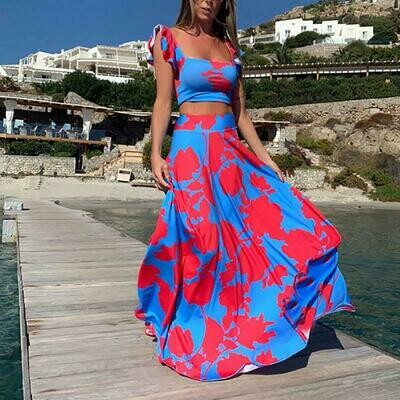 off shoulder floral printed crop top and long skirt two-piece set