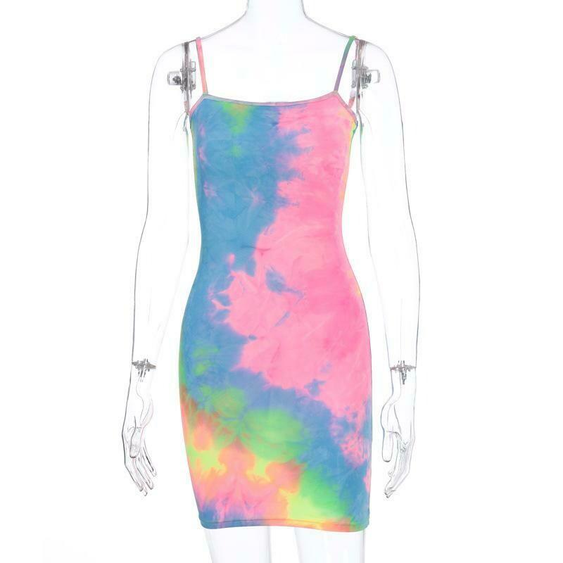 Sleeveless Tiedye Slip Bodycon Dress