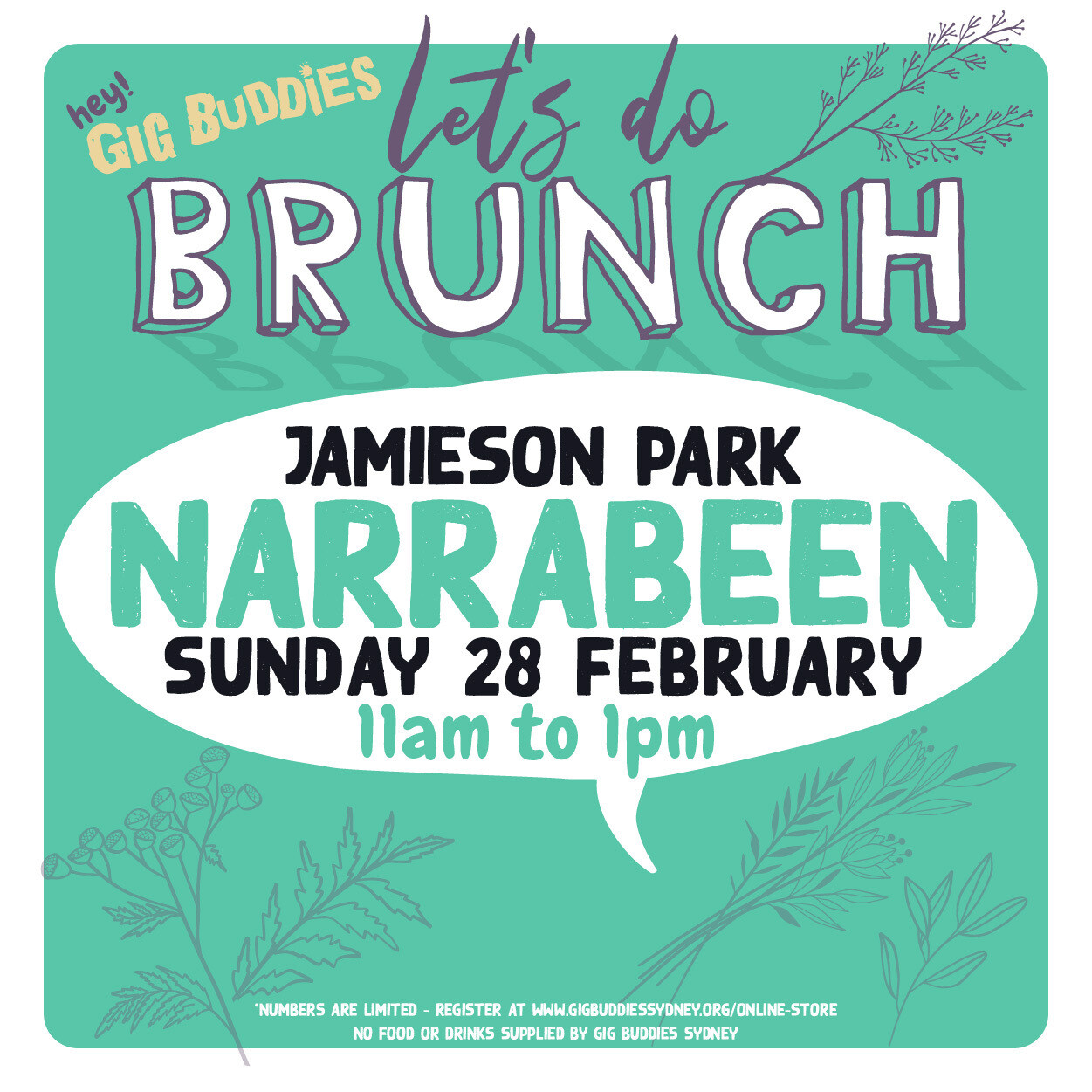 Gig Buddies Sydney Sunday brunch in the park​ @ Jamieson Park, Narrabeen - Sunday 28 February