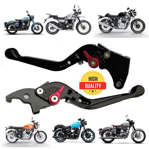 Folding Adjustable Brake Clutch Levers For All Royal Enfield - Black