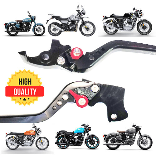 Adjustable Brake Clutch Levers For Royal Enfield - Black with Fingers Grip