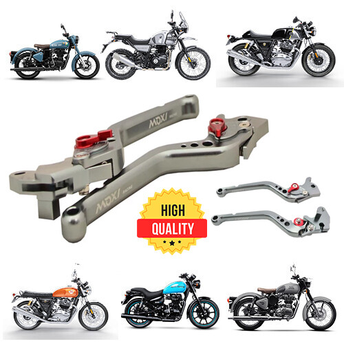 Adjustable Brake Clutch Levers For Royal Enfield - Silver