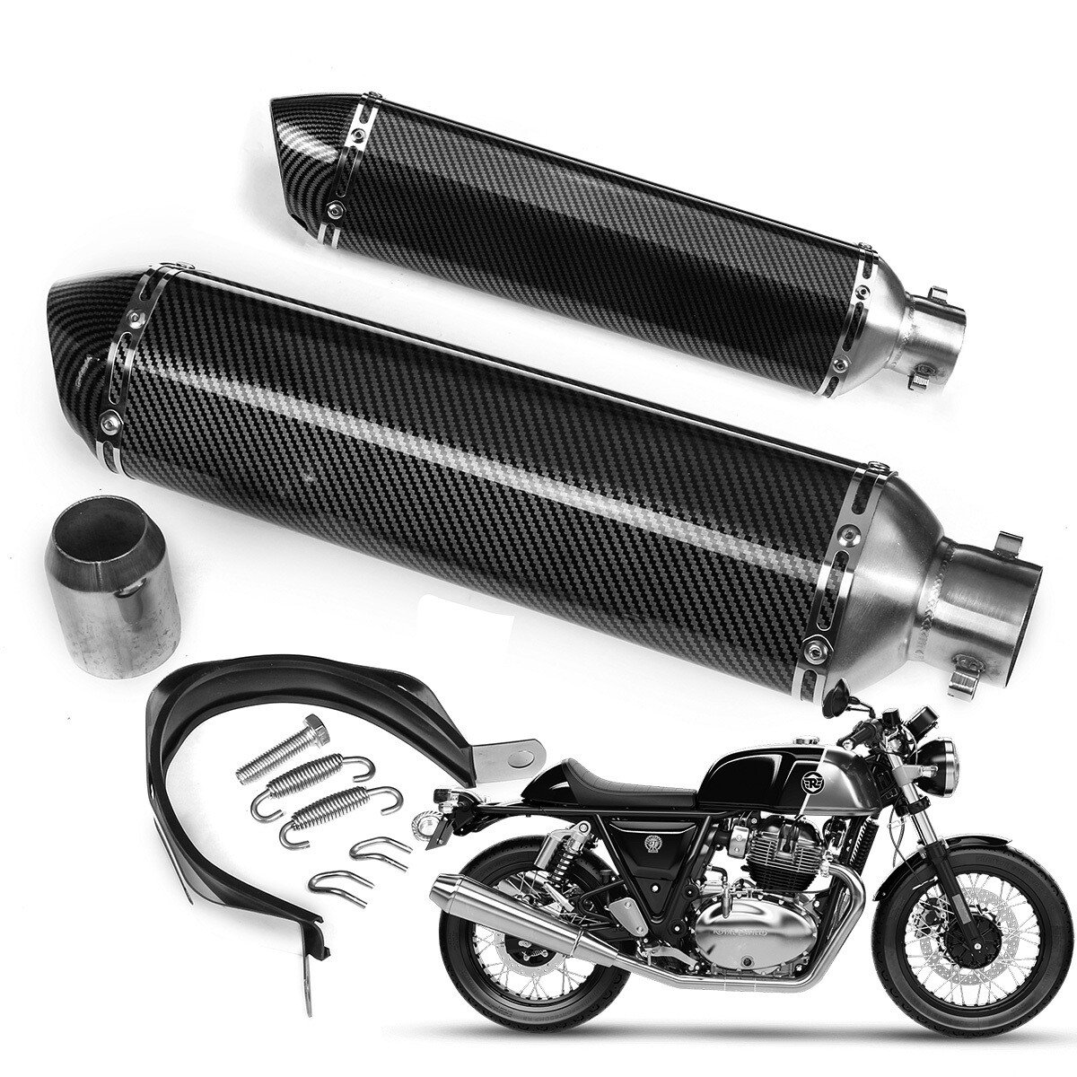 Full Size Motorcycle Slip on Exhaust Muffler Pipe Silencer (pack of 2)