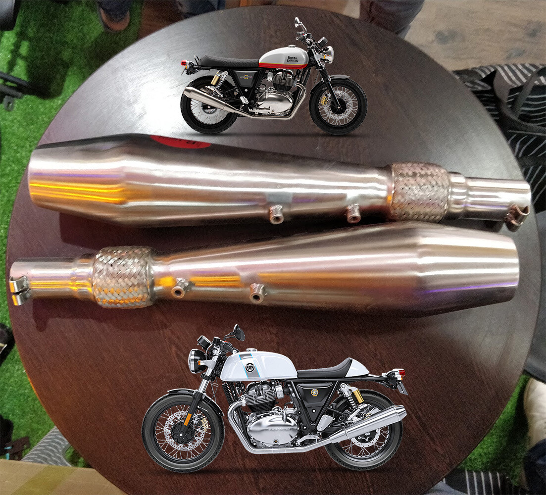 Flex Exhaust Silencer with DB Killer for interceptor 650 and GT650 (Set of 2)