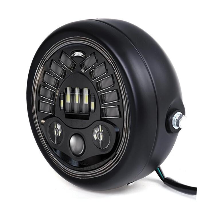 "Alien 110 Watts, High Power, 5.75"" Inches LED Headlight with doom for Custom Bikes"