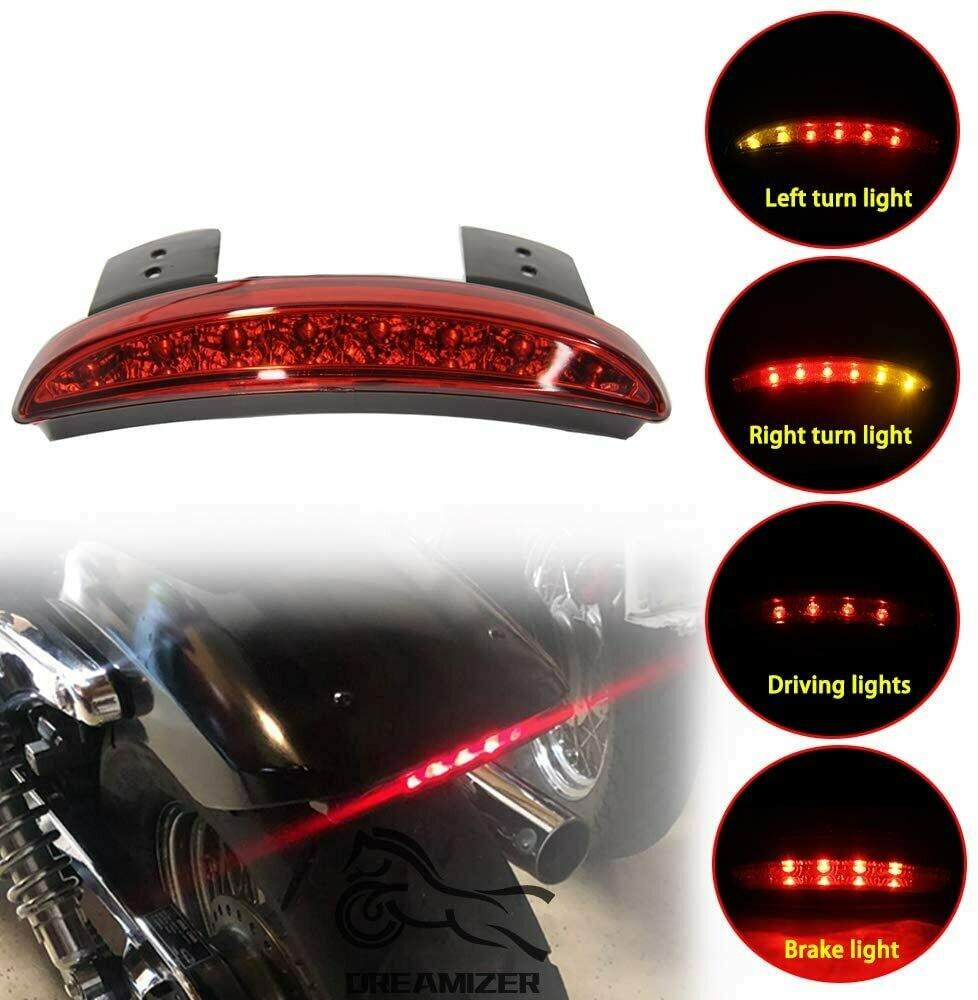 Motorcycle LED Tail Light Brake with Turn Signal Rear Fender Edge Assembly Weatherproof for Harley Street Dyna Bob Softail Slim Sportster XL883L XL883N XL1200N XL1200V XL1200X FXSB Red Light
