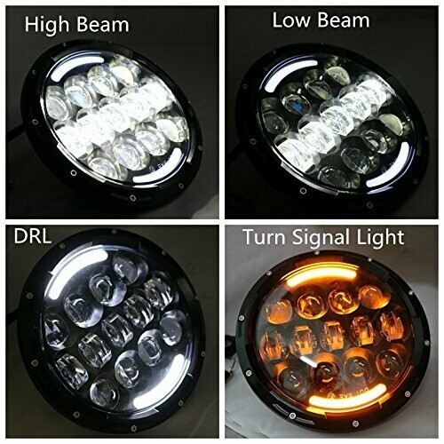 16 LEDs Headlight Hi/Lo Beam DRL for Bullet Classic, Classic 350, Classic 500, Interceptor 650, Thunderbird 350X, GT Continental, Bullet 350, Standard, Electra