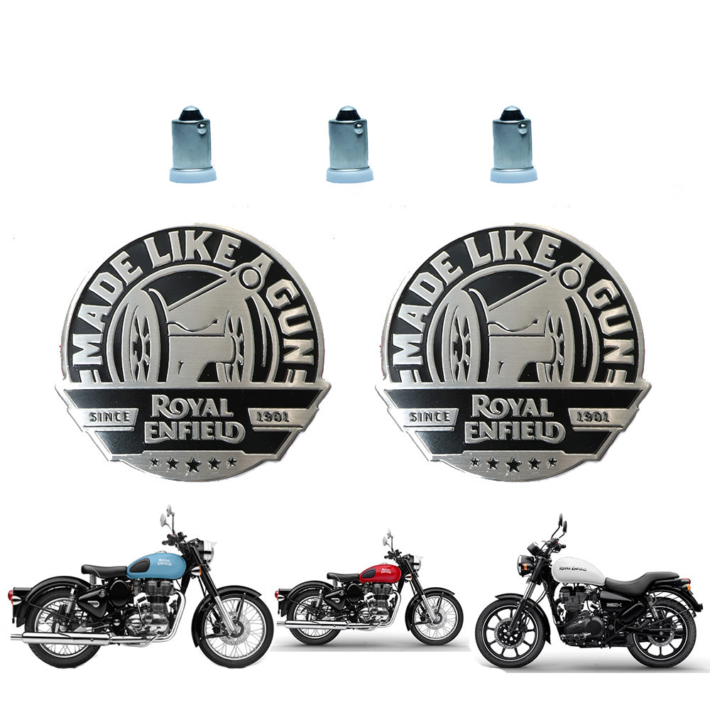 2 Stickers & 3 Pilot Light Bulbs for Royal Enfield - Design 4