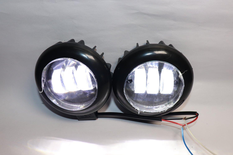 3X Harley type fog lamps - 96 Watt (8640 - Lumens) Round Shape - pair