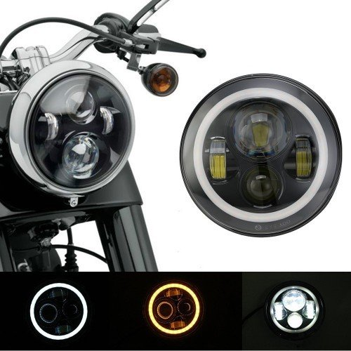 75 WATT- Full Ring 7 Inch Round Hi/Lo Cree Led Headlights with DRL and Halo Angel Eyes