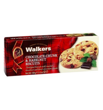 Walkers chocolate chunk & hazelnut cookies 150 gr