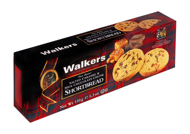 Walkers salted caramel & milk chocolate chunk shortbread 150 gr