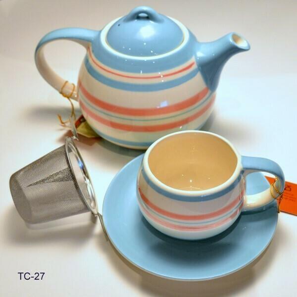 Klein eenvoudig fleurig thee-setje   TC-27