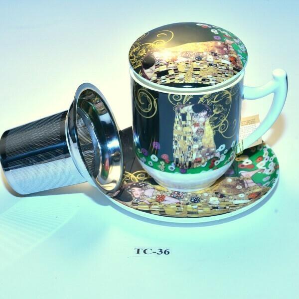 Gustav Klimt Thee- kruidentas met diepe zeef en aromadeksel   TC-36