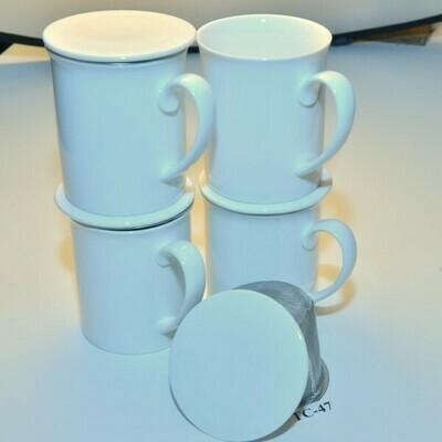 Set van 4 klassieke mokken met filter en aromadeksel  TC-47