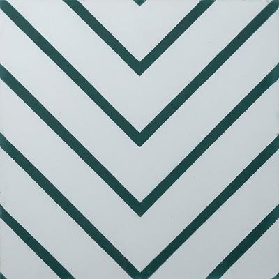 Zementfliese - Goose-Eye - Pure White/Bottle Green