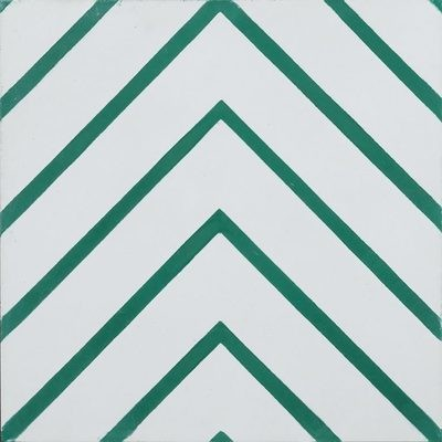 Zementfliese - Goose-Eye - Pure White/Pea Green