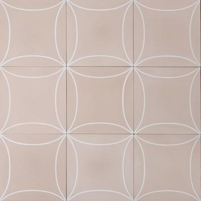 Zementfliese - Mari - Soft Pink/White