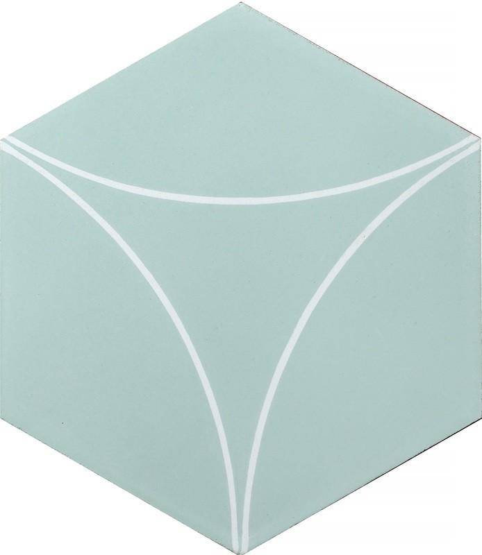 Zementfliese handgefertigt - Bow C - Artichoke /White