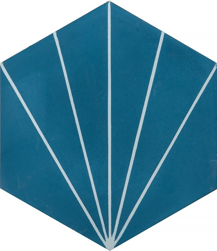 Zementfliese - Dandelion - Baltic Blue/White